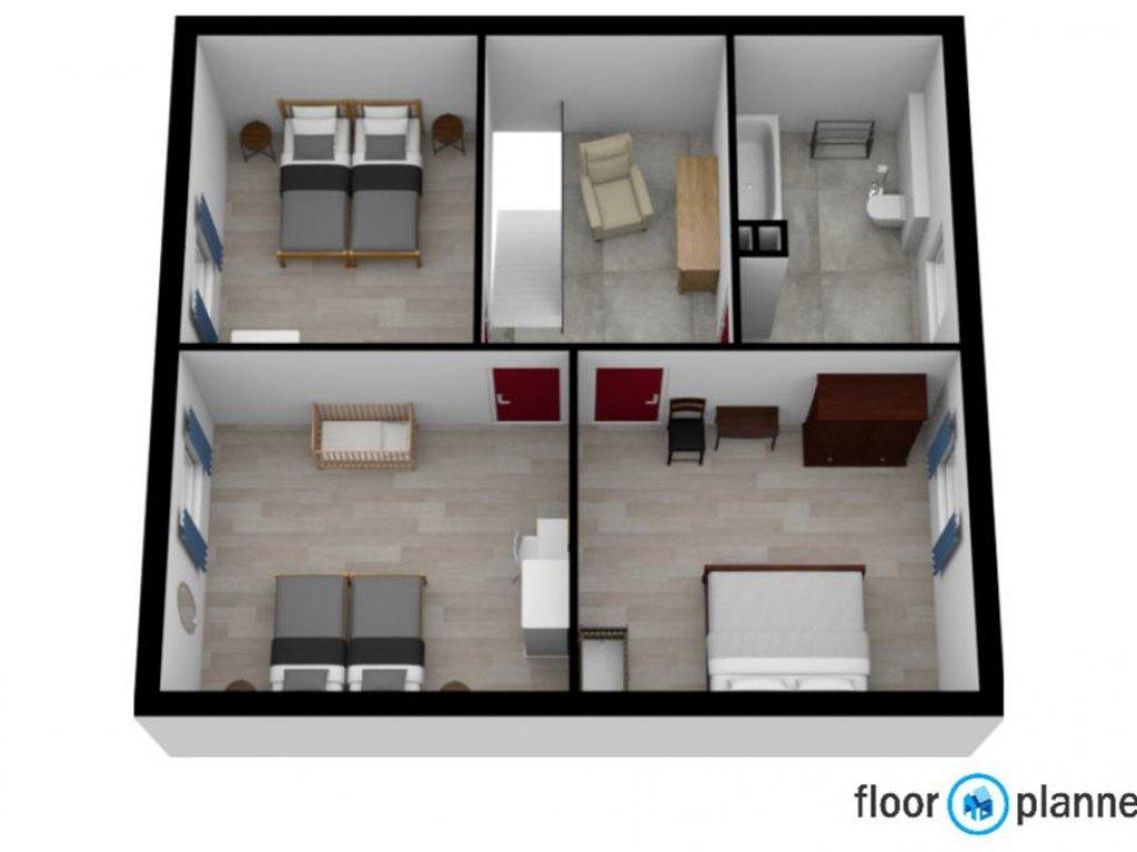 3d plattegrond 2de verdieping